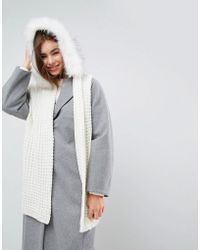 Urbancode - Oversized Knitted Scarf With Faux Fur Trim Hood - Lyst