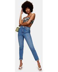 Topshop Unique Mom jeans lavaggio blu medio