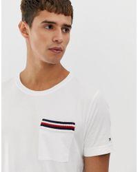 c05c2667 Tommy Hilfiger - Icon Stripe Pocket Detail T-shirt In White - Lyst