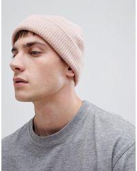 ASOS DESIGN - Fisherman Beanie In Pink Texture - Lyst
