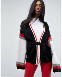 ASOS - Wrap Cardigan In Colourblock - Lyst