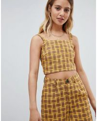 Daisy Street - Square Neck Crop Top In Retro Check Co-ord - Lyst