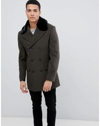 French Connection Double Breasted Wool Rich Pea Coat With Faux Fur Collar - Green