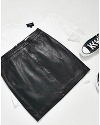 Object Leather Mini Skirt - Black