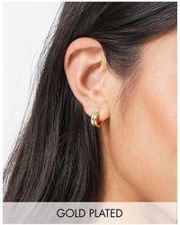 ASOS Серьги-кольца Из Стерлингового Серебра С Покрытием Из Золота С Дизайном В Два Ряда - Многоцветный