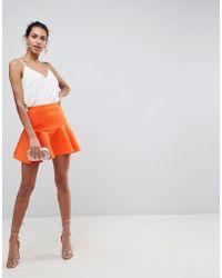 ASOS - Asos Scuba Mini Skirt With Frill - Lyst