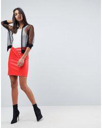ASOS Textured Leather Look Mini Skirt With Tulip Waist