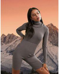 ASOS 4505 Long Sleeve Short Unitard - Gray