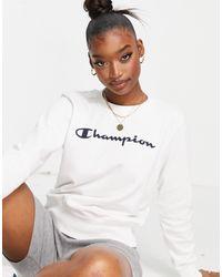 Champion Felpa bianca con logo grande - Bianco