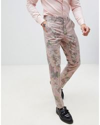 ASOS - Skinny Suit Trousers In Printed Pink Floral Wool Mix - Lyst