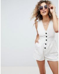 ASOS - Design Playsuit In Linen Look With Horn Buttons And Top Stitch Detail - Lyst