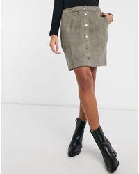 Vero Moda - Button Through Faux Suede Skirt - Lyst