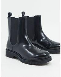 Monki Nori Faux Leather Chelsea Boots - Black