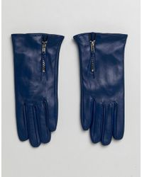 Barneys Originals - Real Leather Gloves With Zip Detail - Lyst