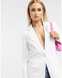 UNIQUE21 Tailored Single Button Blazer - White