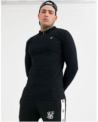 SIKSILK Muscle Fit Long Sleeve T-shirt With Zip Detail - Black