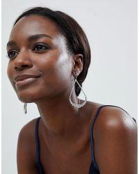 True Decadence - Silver Oval Embellished Drop Earrings (+) - Lyst