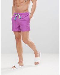 ASOS - Asos Swim Shorts In Purple In Short Length With Rainbow Drawcord - Lyst