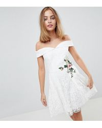 Little Mistress - Lace Mini Bardot Dress With Floral Embroidery - Lyst
