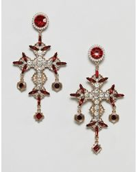 ASOS - Earrings In Vintage Cross Design With Jewels And Pearls In Gold - Lyst
