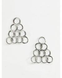 ASOS Earrings With Open Circle Links In Triangle Shape In Silver - Metallic