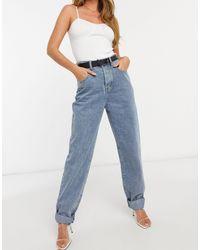 In The Style X Megan Mckenna Straight Leg Frayed Hem Jean - Blue