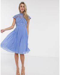 Chi Chi London Chi Chi Rozie Lace Detail Midi Dress - Blue