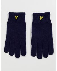 Lyle & Scott Marineblaue, gerippte Handschuhe