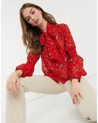 New Look Blusa rossa con allacciatura sul collo - Rosso