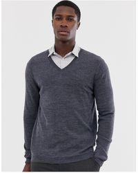 ASOS Merino Wool V-neck Sweater - Gray