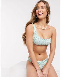 Pull&Bear – Asymmetrisches Bikinioberteil mit floralem Design - Grün