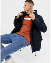 New Look Parka Jacket With Fleece Lined Hood In Navy - Blue