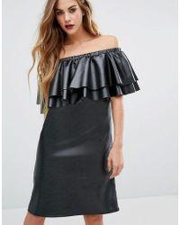 First & I - Faux Leather Ruffle Bardot Dress - Lyst