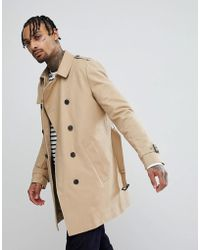 ASOS - Shower Resistant Double Breasted Trench In Stone - Lyst