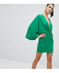 Flounce London - Wrap Front Kimono Mini Dress - Lyst