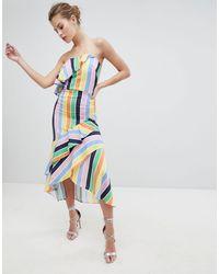 True Violet - Платье-бандо Миди С Оборкой -многоцветный - Lyst
