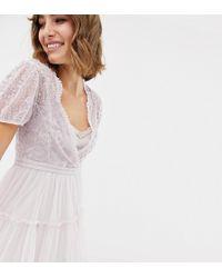 Needle & Thread Vestito midi in tulle ricamato con maniche ad aletta lavanda - Viola