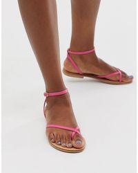 ASOS Freefall Minimal Toe Loop Flat Sandals - Pink