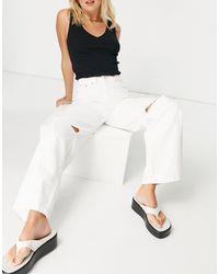 Bershka Широкие Белые Джинсы Со Рваными Коленями В Стиле 90-х -белый