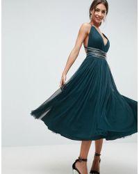 ASOS DESIGN - Asos Premium Tulle Midi Prom Dress With Embellished Ribbon Ties - Lyst