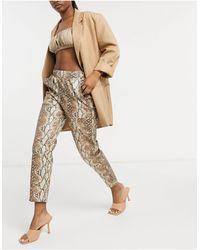 ASOS Hourglass Leather Look Peg Trouser - Multicolour