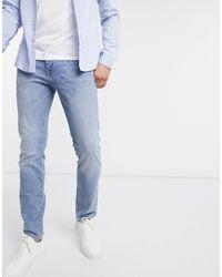 SELECTED Jean slim stretch en coton biologique - délavé - Bleu