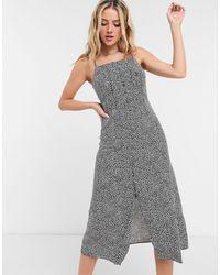 Warehouse Ditsy Daisy Midi Cami Dress - Gray