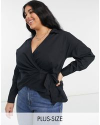 Simply Be Черная Поплиновая Рубашка Из Хлопка, С Запахом На Завязках -черный Цвет