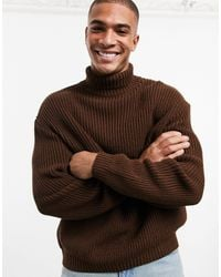 ASOS Knitted Oversized Rib Jumper - Brown
