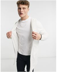 ASOS Knitted Hooded Cardigan - White