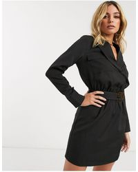 4th & Reckless Belted Blazer Dress - Black