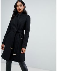 Lipsy - Smart Tailored Coat With Belt In Black - Lyst