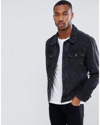 Bershka - Denim Jacket In Black - Lyst