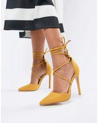 b95a14eb1b07 Public Desire - Aries Bright Yellow Tie Up Pumps - Lyst